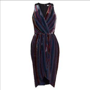 Anthro Harlyn Striped Velvet Midi Dress